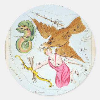 Delphinus, Sagitta, Aquila, and Antinous Round Stickers