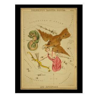 Delphinus, Sagitta, Aquila, y Antinous Postal