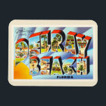 """Delray Beach Florida FL Vintage Travel Souvenir Magnet<br><div class=""""desc"""">Delray Beach,  Florida FL  A nostalgic,  vintage travel souvenir postcard image,  an authentic retro design. Greetings from the American Travelogue Virtual Touring Company!</div>"""