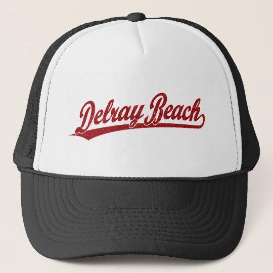 Delray Beach script logo in red Trucker Hat