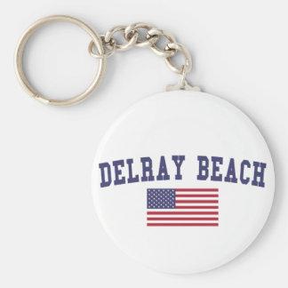Delray Beach US Flag Keychain