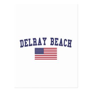 Delray Beach US Flag Postcard