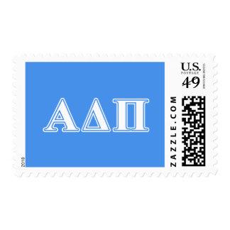 Delta alfa letras azul marino y blancas del pi estampilla
