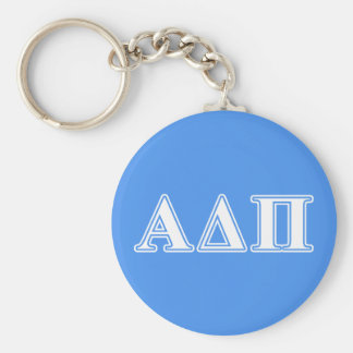 Delta alfa letras azul marino y blancas del pi llavero redondo tipo pin