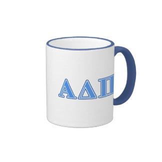 Delta alfa letras azules claras y azul marino del taza de dos colores