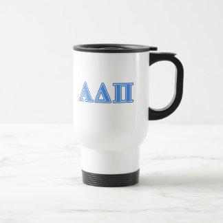 Delta alfa letras azules claras y azul marino del taza de viaje