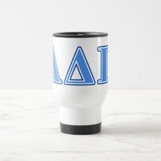 Delta alfa letras azules claras y azul marino del taza térmica