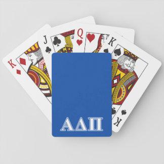 Delta alfa letras azules claras y blancas del pi baraja de póquer