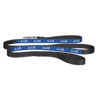 Delta alfa letras azules claras y blancas del pi correas de perro