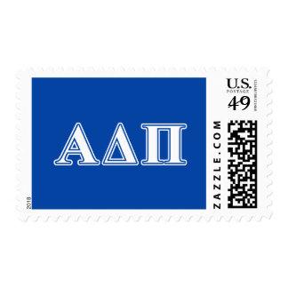 Delta alfa letras azules claras y blancas del pi sellos postales