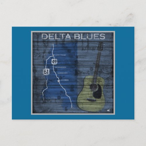 Delta Blues Grunge Blues Highway Postcard