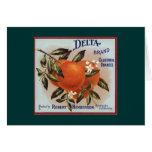 Delta Brand Oranges Fruit Labels Card