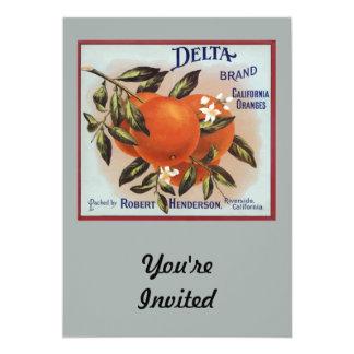 "Delta Brand Oranges Fruit Labels 5"" X 7"" Invitation Card"