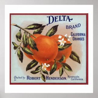Delta Brand Oranges Fruit Labels Poster