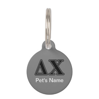 Delta Chi Black Letters Pet ID Tag