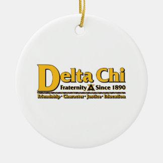 Delta Chi Name and Logo Gold Ceramic Ornament