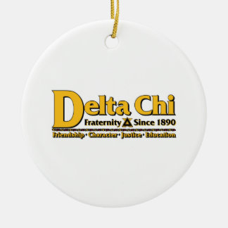 Delta Chi Name and Logo Gold Double-Sided Ceramic Round Christmas Ornament