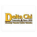 Delta Chi Name and Logo Gold Postcard