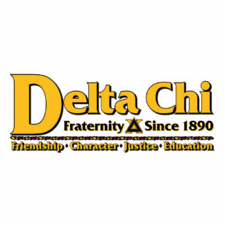Delta Chi Name and Logo Gold Standing Photo Sculpture