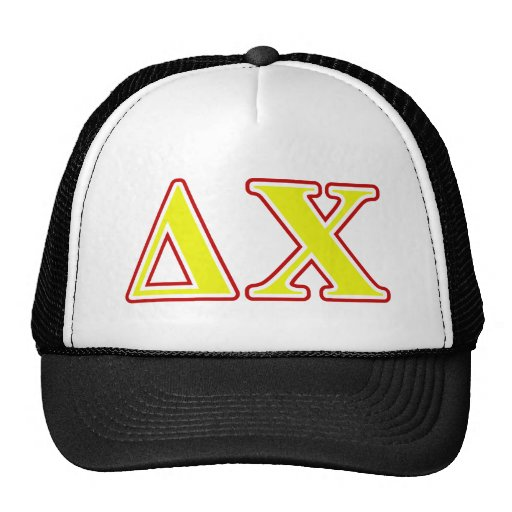 Delta Chi Red and Yellow Letters Mesh Hat