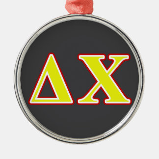 Delta Chi Red and Yellow Letters Christmas Ornament