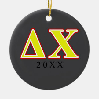 Delta Chi Red and Yellow Letters Christmas Tree Ornaments