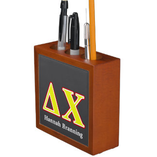 Delta Chi Red and Yellow Letters Pencil Holder