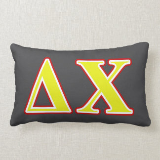 Delta Chi Red and Yellow Letters Pillow