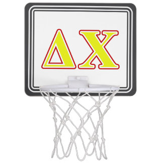 Delta Chi Red and Yellow Letters Mini Basketball Hoops