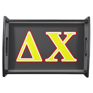 Delta Chi Red and Yellow Letters Serving Platter