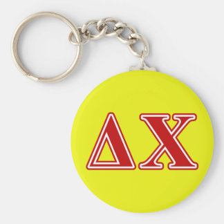 Delta Chi Red Letters Basic Round Button Keychain