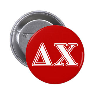 Delta Chi White and Red Letters Button