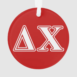 Delta Chi White and Red Letters Ornament