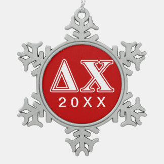 Delta Chi White and Red Letters Snowflake Pewter Christmas Ornament