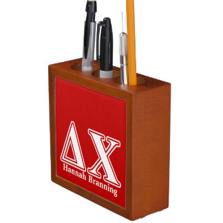 Delta Chi White and Red Letters Pencil Holder