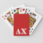 """Delta Chi White and Red Letters Playing Cards<br><div class=""""desc"""">Check out these official Delta Chi designs! Personalize your own Greek merchandise on Zazzle.com! Click the Customize button to insert your own name, class year, or club to make a unique product. Try adding text using various fonts &amp; view a preview of your design! Zazzle&#39;s easy to customize products have...</div>"""