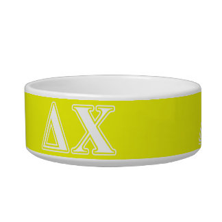 Delta Chi White and Yellow Letters Bowl