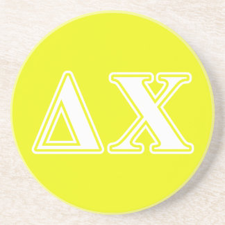 Delta Chi White and Yellow Letters Coaster