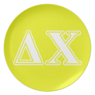 Delta Chi White and Yellow Letters Dinner Plate