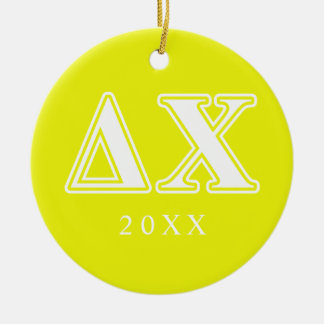 Delta Chi White and Yellow Letters Christmas Ornament