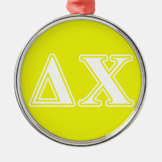 Delta Chi White and Yellow Letters Ornaments