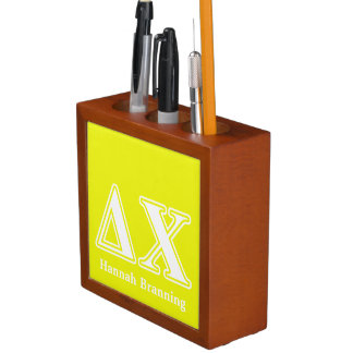 Delta Chi White and Yellow Letters Pencil/Pen Holder