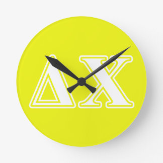 Delta Chi White and Yellow Letters Round Clock