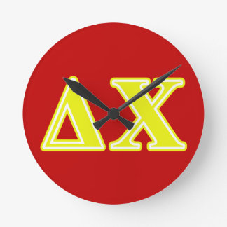 Delta Chi Yellow Letters Round Clock