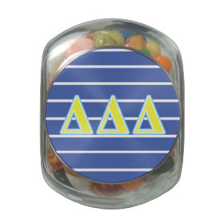 Delta Delta Delta Blue and Yellow Letters Jelly Belly Candy Jars