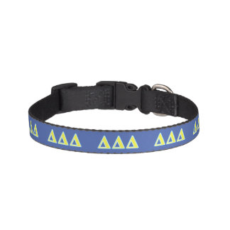 Delta Delta Delta Blue and Yellow Letters Pet Collar