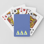 "Delta Delta Delta Blue and Yellow Letters Playing Cards<br><div class=""desc"">Check out these official Delta Chi designs! Personalize your own Greek merchandise on Zazzle.com! Click the Customize button to insert your own name, class year, or club to make a unique product. Try adding text using various fonts &amp; view a preview of your design! Zazzle&#39;s easy to customize products have...</div>"