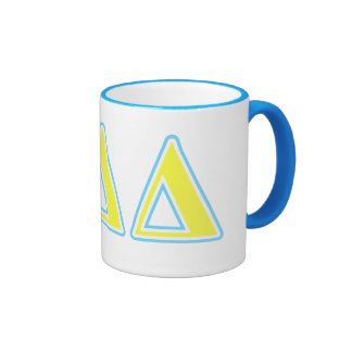 Delta Delta Delta Blue and Yellow Letters Ringer Mug