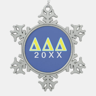 Delta Delta Delta Blue and Yellow Letters Snowflake Pewter Christmas Ornament