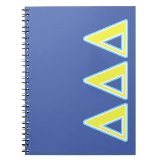 Delta Delta Delta Blue and Yellow Letters Spiral Notebook
